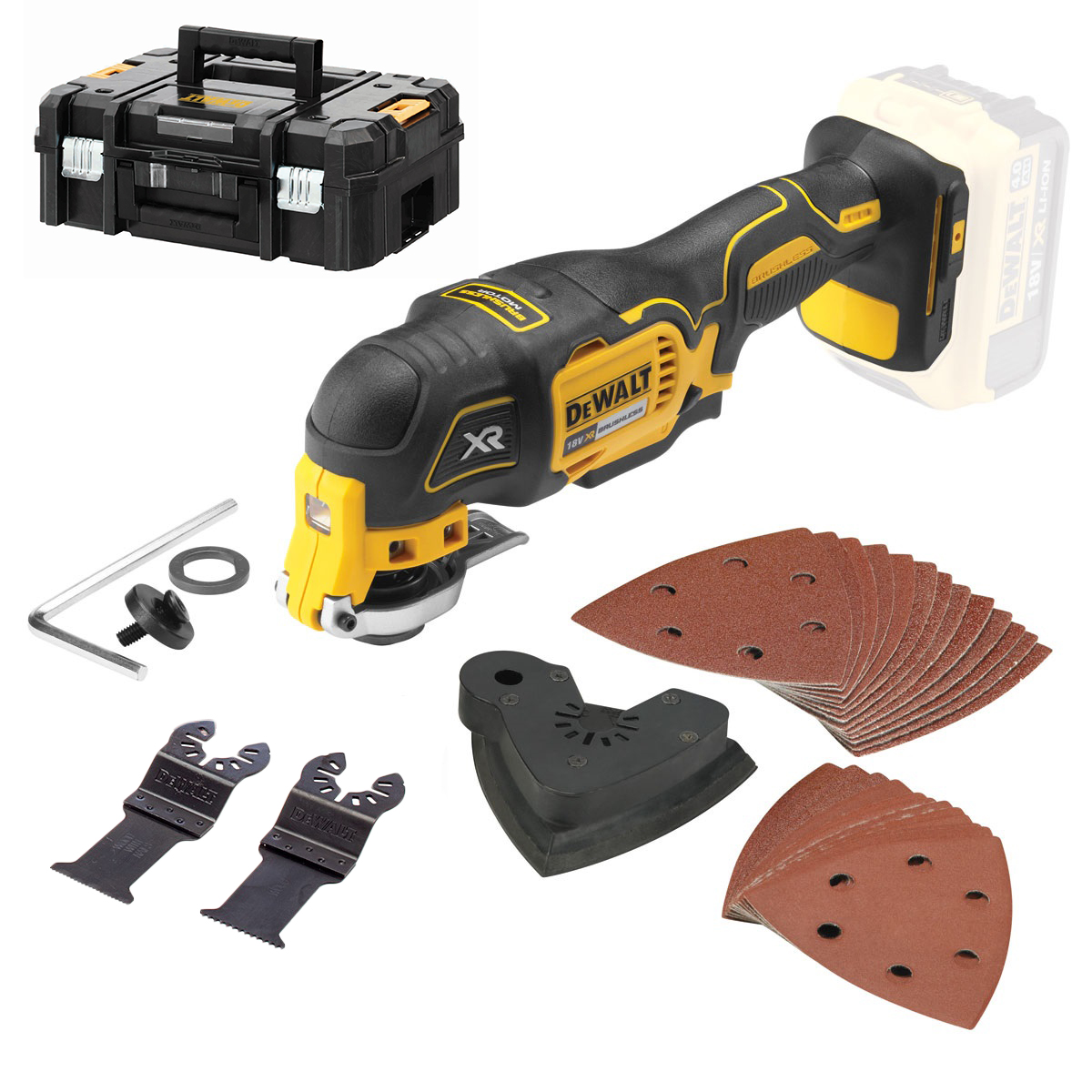 DeWALT DCS355NT 18V Li - Ion accu Multitool + 29 delige accessoire body in TSTAK - koolborstelloos