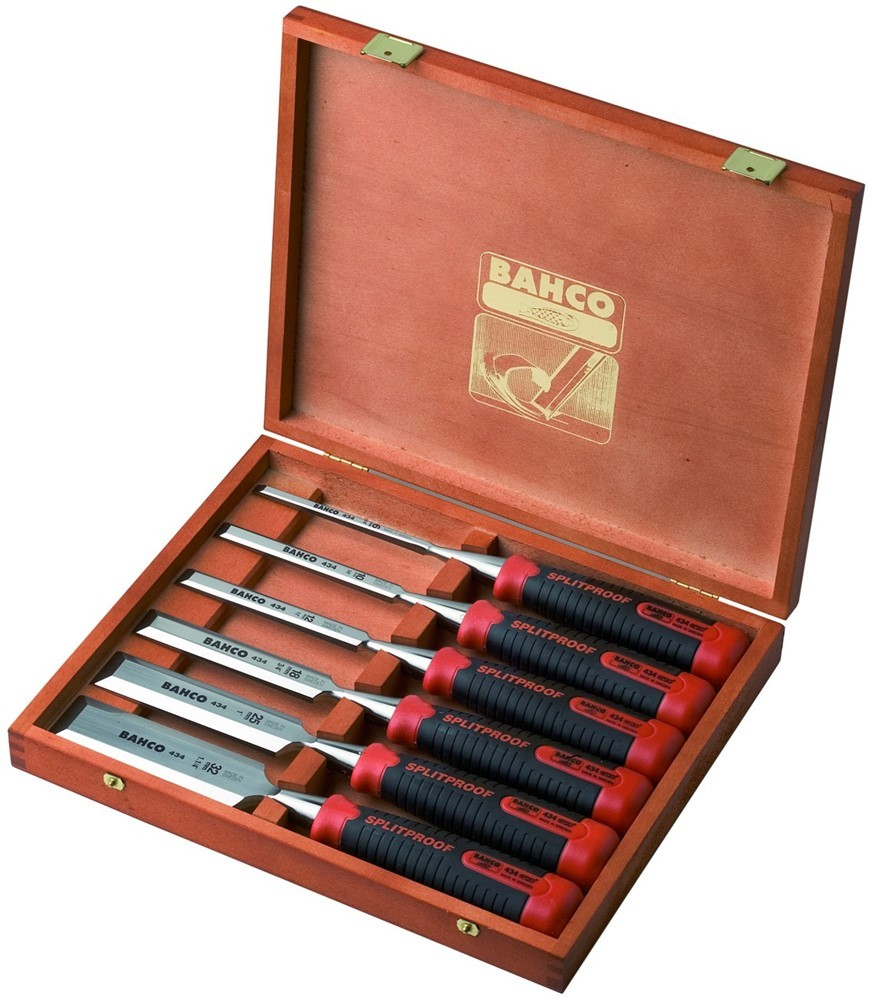 - Bahco 434 - S6 - EUR 6 delige beitel set in houten box