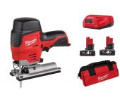 Milwaukee M12 JS-402B 12V Li-Ion Accu decoupeerzaag set (2x 4.0Ah accu) in tas - T-greep - variabel - 4933441700