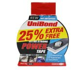 UniBond UNI1810244 POWER tape zwart 50mm x 25m +25% extra (watervast)