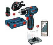 Bosch GSR 12V-15 12V Li-Ion accu boor-/schroefmachine set (2x 2.0Ah accu) in L-Boxx + extra accessoire - 0615997566