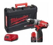 Milwaukee M12 CDD-202C 12V Li-Ion accu boor-/schroefmachine set (2x 2.0Ah accu) in koffer - koolborstelloos - 4933440390