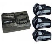 Hitachi 714912 Powerpack 18V Li-Ion accu starterset (3x 5.0Ah) + lader - 714912