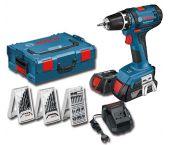 Bosch GSR 18-2 LI 18V Li-Ion accu boor-/schroefmachine set (2x 1.5Ah accu) in L-Boxx incl. 39 delige accessoire set - 0615990FF3