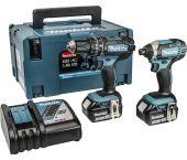 Makita DLX2131JX 18V Li-Ion accu klopboor-/schroefmachine (DHP482) & slagschroevendraaier (DTD152) Combiset (2x 3.0Ah accu) in Mbox