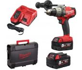 Milwaukee M18 FDD-502X 18V Li-Ion accu boor-/schroefmachine set (2x 5.0Ah accu) in HD Box - koolborstelloos - 4933451064