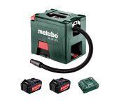 Metabo AS 18 L PC Li-Ion accu alleszuiger / bouwstofzuiger set (2x 5,2Ah accu) - L-Klasse - 7,5L - 602021000