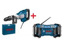 Bosch 0615990GR9 GSH 11 VC SDS-max Breekhamer in koffer - 1700W - 23J & GML Soundboxx - 14.4/18V Li-Ion Accu bouwradio - netstroom & accu