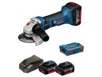 Bosch GWS 18-125 V-LI 18V Li-Ion Accu haakse slijper set (3x 4.0Ah accu) in L-Boxx - 125mm - 060193A30E