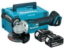 Makita DGA506RTJ 18V Li-Ion Accu haakse slijper set (2x 5.0Ah accu) in Mbox - 125mm - koolborstelloos - softstart