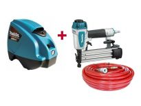 Makita AF505X Pneumatische tacker (AF505) & luchtslang (P-45973) + compressor (MAC610) combiset - 15-50mm - 3,9-7,8 bar
