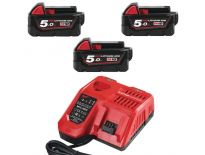 Milwaukee Starterset 18V 3x 5.0Ah accu + oplader - M18 B5 - M12-18FC - 4933451423