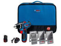 Bosch GSR 10,8-2-Li 10,8V Li-Ion accu boor-/schroefmachine set (2x 1.5Ah accu) in tas + 39 delige accessoire set - GSR 10,8-2-LI 0601868106