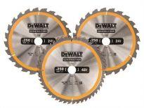 DeWalt DT1963 3 Delige Cirkelzaagbladen - 250 x 30 x 24T-24T-48T - Hout - DT1963-QZ