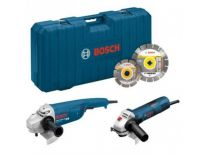 Bosch Haakse slijper set (GWS 22-230 JH + GWS 7-125) incl. 2 diamantzaagbladen in koffer - 2200W / 720W - 230mm / 125mm - 0615990H02