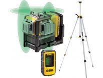 DeWalt DCE089D1GTRID 10.8V Li-Ion accu zelfnivellerende kruislijnlaser & ontvanger (DE0892G) & statief (DE0881) combiset (1x 2.0Ah accu) in koffer - 3 lijnen - 30m - groen - DCE089D1GTRID-QW