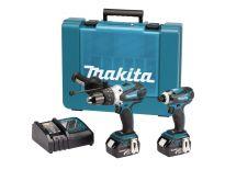 Makita DK18000 18V Li-Ion accu klopboor-/schroefmachine (BHP458) & slagschroevendraaier (DTD146) combiset (2x 3.0Ah accu) in koffer