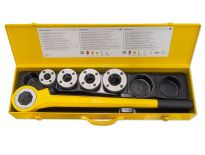 "Rems 520013 Eva Set R 3/8 - 1 1/4"" Handdraadsnij-ijzer met snelwisselsnijkoppen 3/8-1/2-3/4-1-1 1/4"" in stalen koffer - 520013"