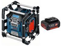 Bosch GML 50 PowerBox 360 Deluxe 14.4-18V Li-Ion Accu bouwradio met laadfunctie set (1x 18V 4.0Ah accu) - netstroom & accu