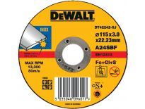 DeWalt DT42242 Doorslijpschijf recht voor inox - 115x3mm (25st) - DT42242-XJ