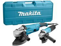Makita MEU049 + DK1189Z Haakse slijper set (GA9020R & 9558NB) in koffer - 2200W / 840W - 230mm / 125mm