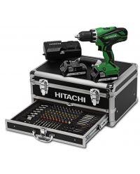 Hitachi DS18DJL(LC) / (WK) 18V Li-Ion accu boor-/schroefmachine set (2x 1.5Ah accu) in koffer incl. 100 delige accessoire set