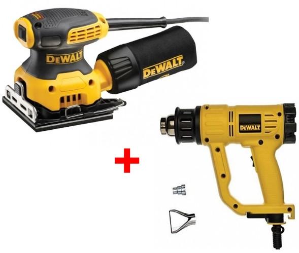 - DeWalt DWE6411SET Handpalm vlakschuurmachine(DWE6411)&amp, Heteluchtpistool(D26411)combiset